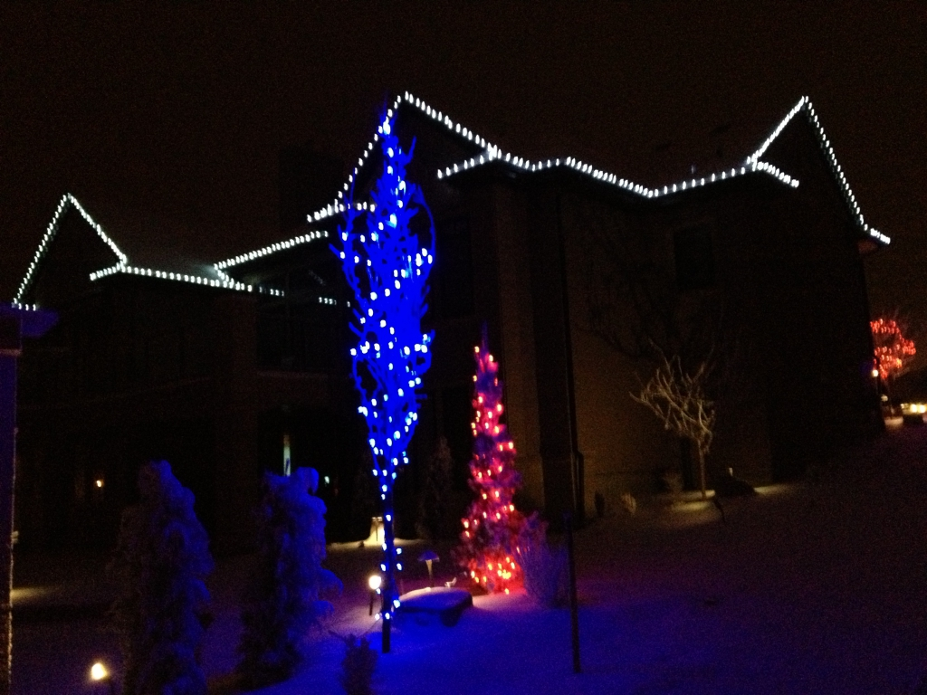 Christmas Lights In Trees And Along The Roof Of A Large House By Yard  Busters Landscaping